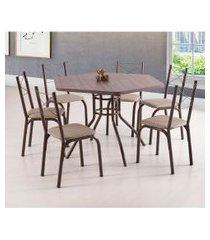conjunto de mesa de jantar com 6 cadeiras vancouver linho marrom e bege