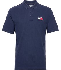 tjm tommy badge polo polos short-sleeved blå tommy jeans