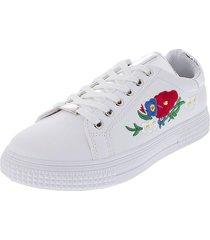 tenis moda para dama color blanco en cuero sintetico con bordados en flores