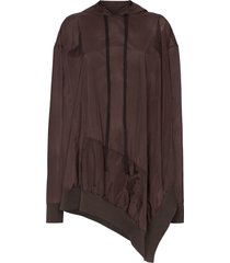 unravel project asymmetric open-side hoodie - brown