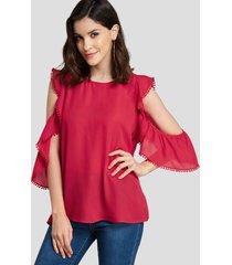 blusa de manga corta con ribete de volantes roja