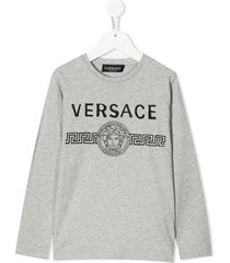young versace medusa head logo sweatshirt - grey