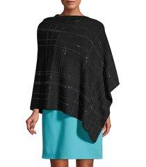 la fiorentina women's embellished plaid poncho - black