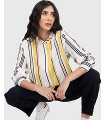 camisa blanco-multicolor lacoste
