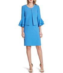 women's tahari sleeveless sheath dress & jacket, size 10 - blue