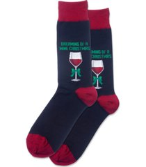 hot sox men's dreaming of a wine xmas crew socks