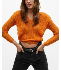 mango frilla open knit sweater