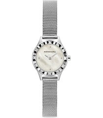 classic mother-of-pearl stainless steel mesh bracelet watch