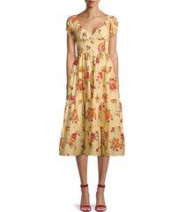 danielle bernstein women's floral shirred tiered dress - buttermilk - size l