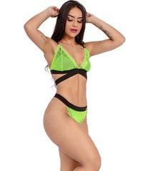 conjunto imi lingerie sem bojo em renda neon verde
