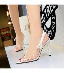 mujer taco sandalias zapatos de tacon con nudo ojal-blanco