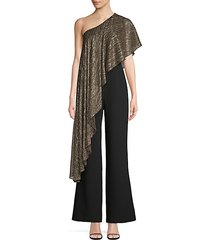 eastern luxe koi metallic one-shoulder jumpsuit