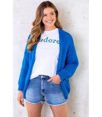 oversized knitted vest kobalt