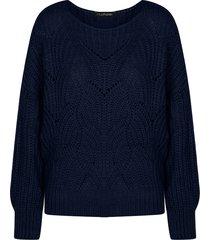 trui met motief marineblauw