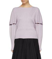 detachable button sleeve rib knit v-back sweater
