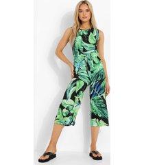 palm print culotte jumpsuit met touwtjes, black