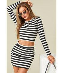 yoins black striped crew cuello dos piezas con minifalda