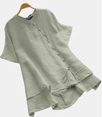 blusa con bottoni in perline irregolari plus camicetta taglia