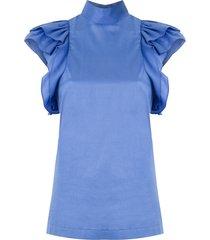 reinaldo lourenço funnel neck blouse - blue