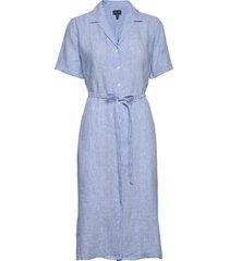 d2. linen chambray ss shirt dress jurk knielengte blauw gant