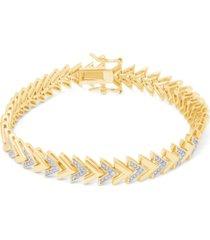 diamond accent chevron fine gold plate bracelet