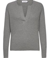 ls open neck sweater gebreide trui grijs calvin klein