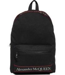 alexander mcqueen metropolitan logo canvas backpack