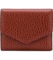 maison margiela textured flap wallet - brown