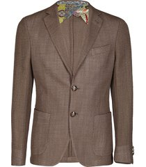 etro brown silk-wool blend blazer