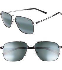 maui jim haleiwa 56mm polarizedplus2 mirrored navigator sunglasses - gunmetal/ grey