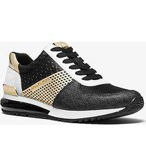 mk sneaker allie extreme in materiale misto effetto metallizzato - nero/oro pallido (oro) - michael kors