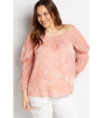 maurices plus size womens pink tie dye smocked blouse