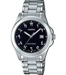 reloj analógico hombre casio mtp-1215a1b3 - plateado con negro