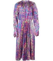 pleated fluorescent leopard print dress