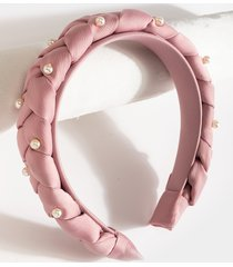 women's corrina braided pearl headband in rose by francesca's - size: one size