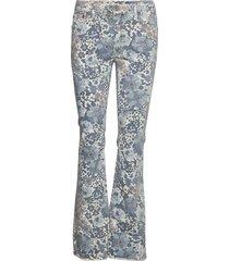 longcut blu flower cut utsvängda byxor blå please jeans