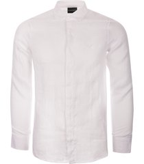 emporio armani long sleeve linen shirt - white 3g1cl81nhtz