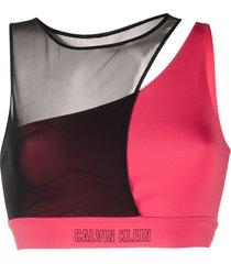 calvin klein underwear sheer-panel medium impact sports bra - red