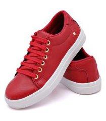 tênis casual sapatenis feminino cano baixo confort vermelho