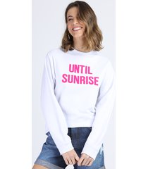 "blusão de moletom feminino ""until sunrise"" off white"