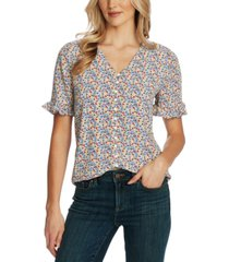 cece floral-print ruffled-sleeve button-down top