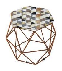 puff aramado bronze assento hexagonal suede triângulo bege - ds móveis