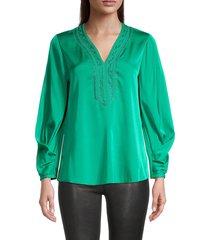 kobi halperin women's kiana embroidered silk-blend blouse - green - size m