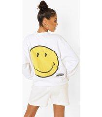 gelicenseerde smiley sweater, white