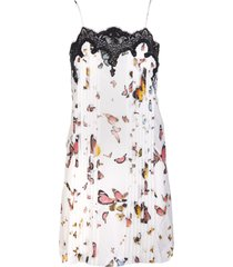 blumarine short dress in white silk with butterfly print