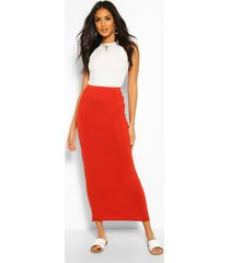 basic jersey maxi-rok met contrasterende taille, roest