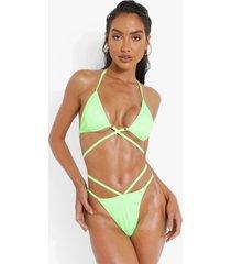 geribbelde driehoekige wikkel bikini top met strikjes, green