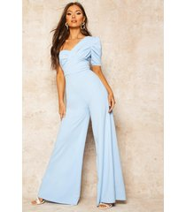 one shoulder puff sleeve jumpsuit, dusty blue