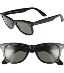 ray-ban 'classic wayfarer' 50mm polarized sunglasses in black/green p at nordstrom
