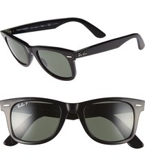 men's ray-ban 'classic wayfarer' 50mm polarized sunglasses - black/ green p